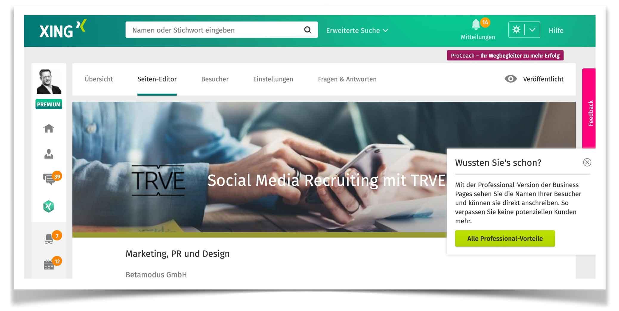 Xing stellt Business Page ein