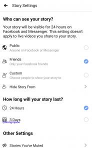 Facebook-News. Stories können auch 3 Tage angezeigt werden