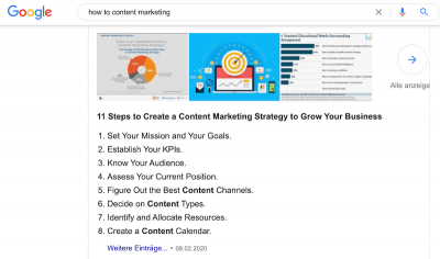 Content Marketing & Google Snippet