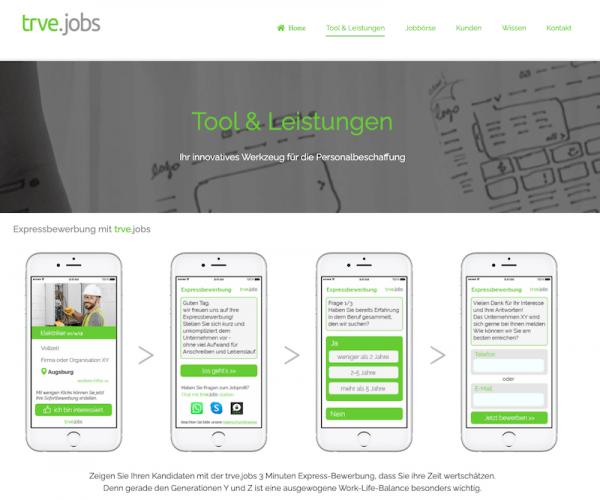 trve.jobs Website im frischen grün
